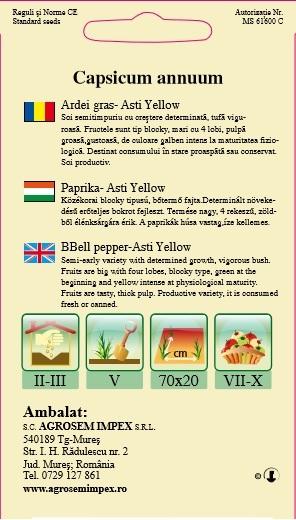 Ardei gras -  Asti Yellow