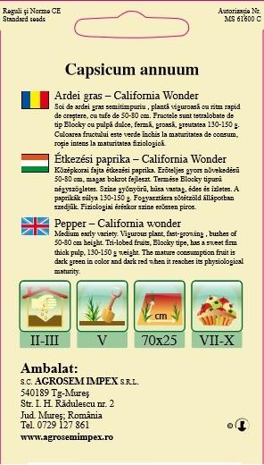 Ardei gras -  California Wonder