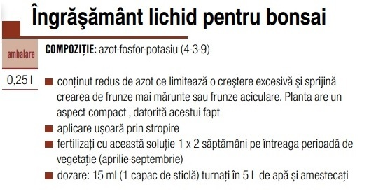 Ingrășământ bonsai 0,25 L