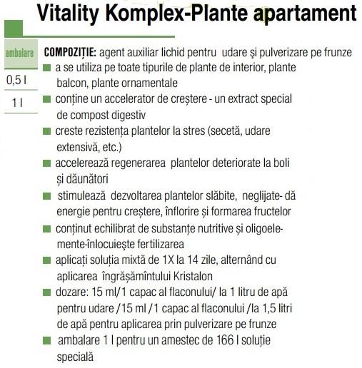 Ingrășământ  Vitality plante apartament