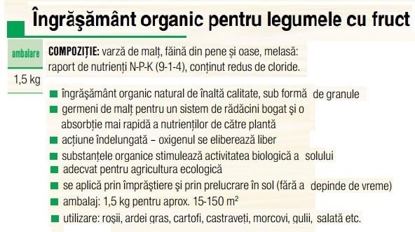 Îngrășământ legume cu fruct